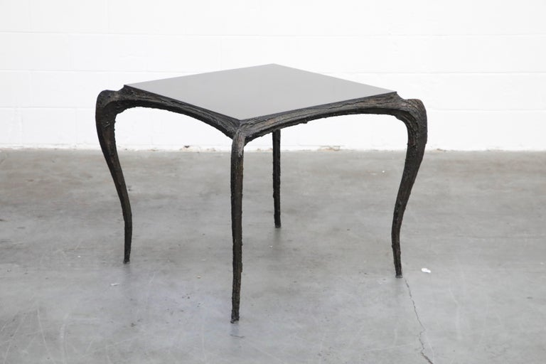 A stunning and incredibly rare Model PE-114 Paul Evans sculpted bronze cafe dining table (also works excellent as a game table or center table) which was part of the