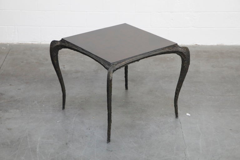 Brutalist Paul Evans for Directional #PE-114 Sculpted Bronze Cafe Dining Table, circa 1968 For Sale