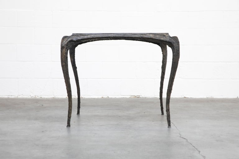 American Paul Evans for Directional #PE-114 Sculpted Bronze Cafe Dining Table, circa 1968 For Sale