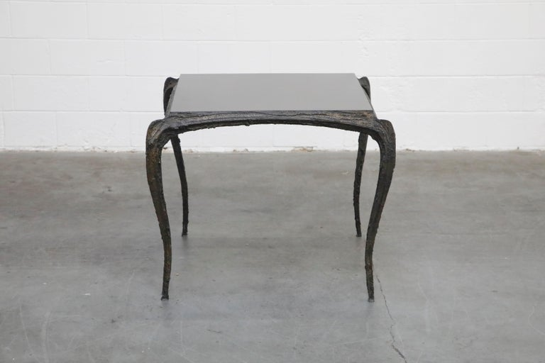 Paul Evans for Directional #PE-114 Sculpted Bronze Cafe Dining Table, circa 1968 In Excellent Condition For Sale In Los Angeles, CA