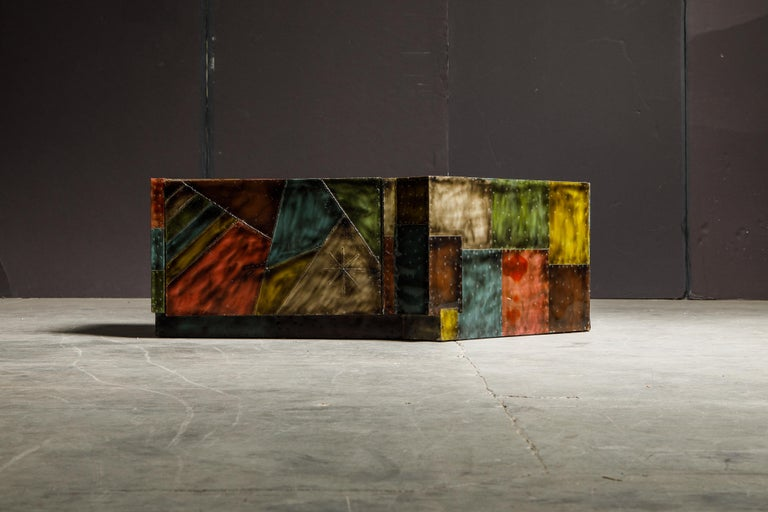 This unique custom piece was fabricated by Paul Evans for Directional, circa 1970, is part of the 'Sculptured Metals Collection