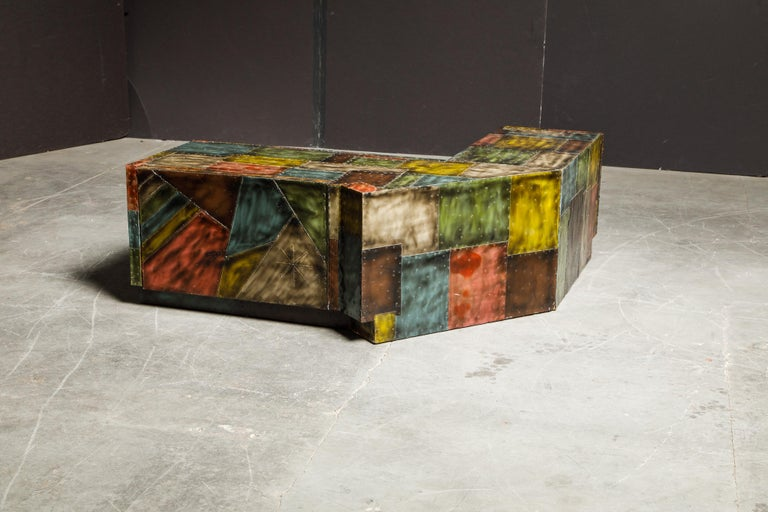 American Paul Evans for Directional Wrap-Around Corner Bench and Cabinet, circa 1970 For Sale