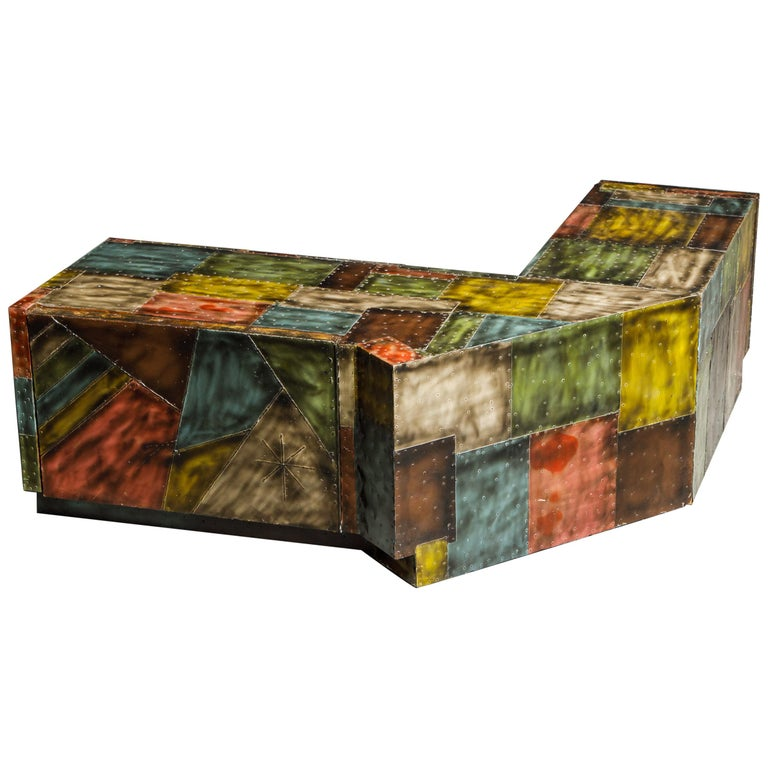 Paul Evans for Directional Wrap-Around Corner Bench and Cabinet, circa 1970 For Sale