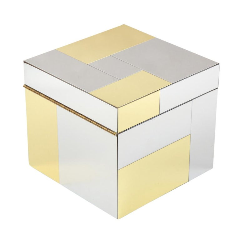 American Paul Evans Ice Bucket, Cityscape, Brass, Chrome, Glass For Sale