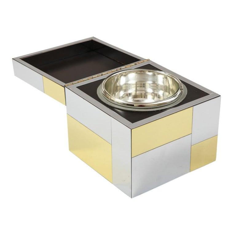 Paul Evans Ice Bucket, Cityscape, Brass, Chrome, Glass For Sale 1