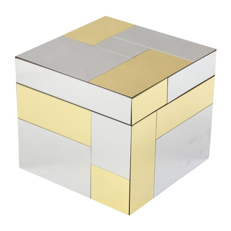 Paul Evans ice bucket, Cityscape brass, chrome, glass. Chunky brass and chrome patchwork ice bucket with hinged lid from Evans' Cityscape series for Directional Furniture. Glass interior liner by the Thermos Company. In good original condition with