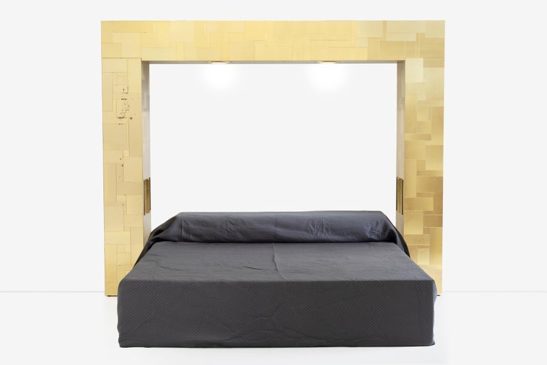 Paul Evans King Size Bedframe with Brass Tiles For Sale 4