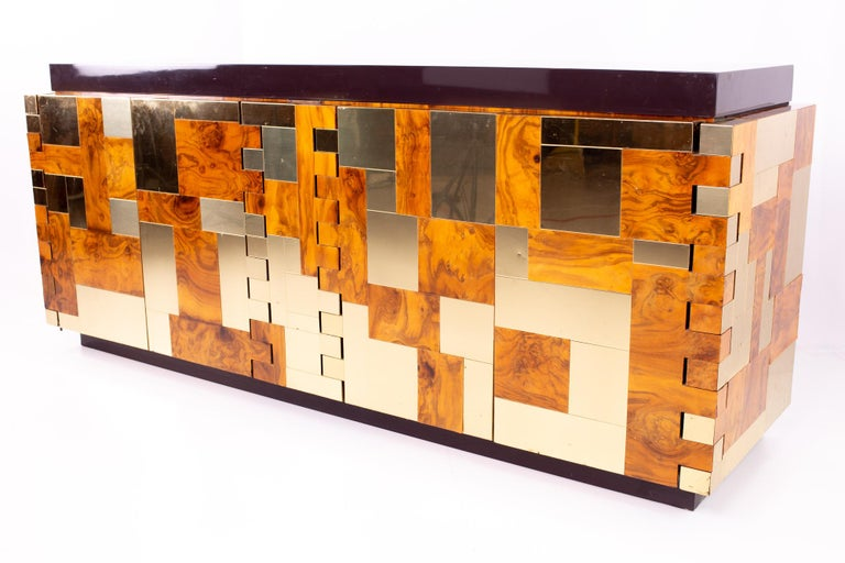Mid-Century Modern Paul Evans Midcentury Brass and Burl Wood Brutalist Sideboard Buffet Credenza For Sale