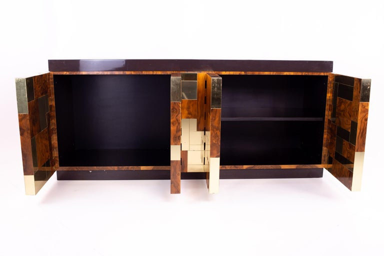 American Paul Evans Midcentury Brass and Burl Wood Brutalist Sideboard Buffet Credenza For Sale