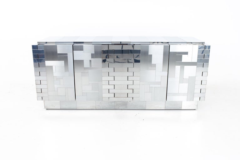 Mid-Century Modern Paul Evans Mid Century Cityscape Chrome Sideboard Buffet Credenza For Sale