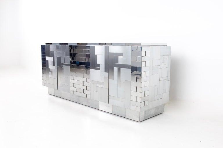 Paul Evans Mid Century Cityscape Chrome Sideboard Buffet Credenza In Good Condition For Sale In La Grange, IL