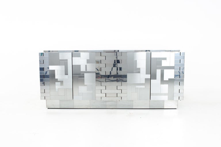 Late 20th Century Paul Evans Mid Century Cityscape Chrome Sideboard Buffet Credenza For Sale