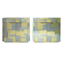 """Paul Evans Mid-Century Modern Iconic """"Cityscape"""" Pair of American Cabinets"""