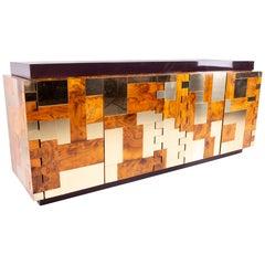 Paul Evans Midcentury Brass and Burl Wood Brutalist Sideboard Buffet Credenza