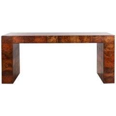 Paul Evans Midcentury Burl Wood Patchwork Console Table