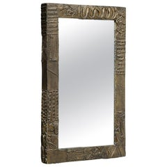 Paul Evans Mirror, Sculpted Bronze and Resin, Signed, Dated