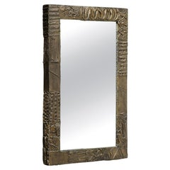 Paul Evans Mirror, Sculpted Bronze and Resin, Signed
