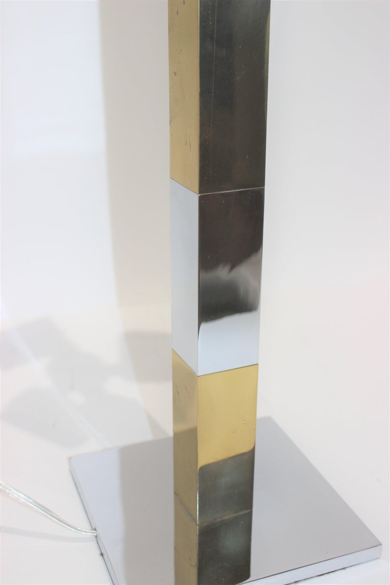 Mid-20th Century Paul Evans Mixed Metal Skyscraper Table Lamp For Sale