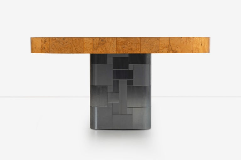 Paul Evans Olive Ash Burl Wood and Steel Cityscape Dining Table For Sale 4