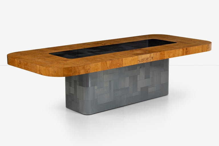 North American Paul Evans Olive Ash Burl Wood and Steel Cityscape Dining Table For Sale