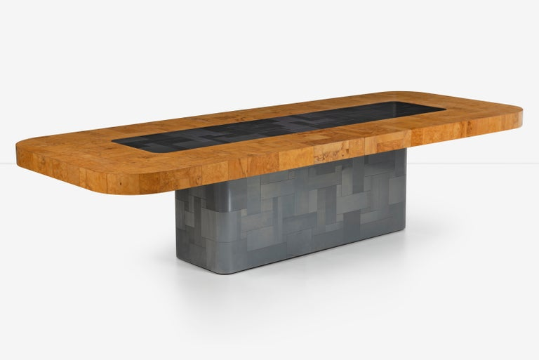 Paul Evans Olive Ash Burl Wood and Steel Cityscape Dining Table In Good Condition For Sale In Chicago, IL