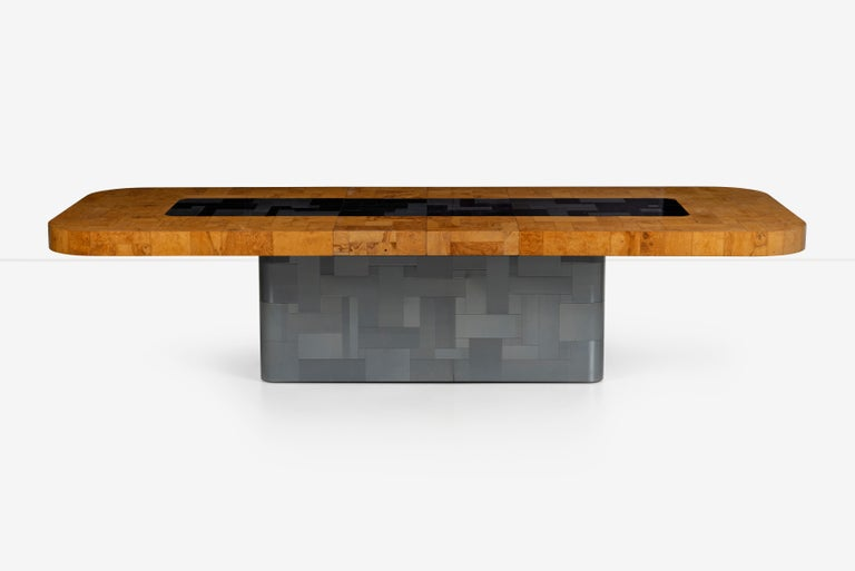Late 20th Century Paul Evans Olive Ash Burl Wood and Steel Cityscape Dining Table For Sale