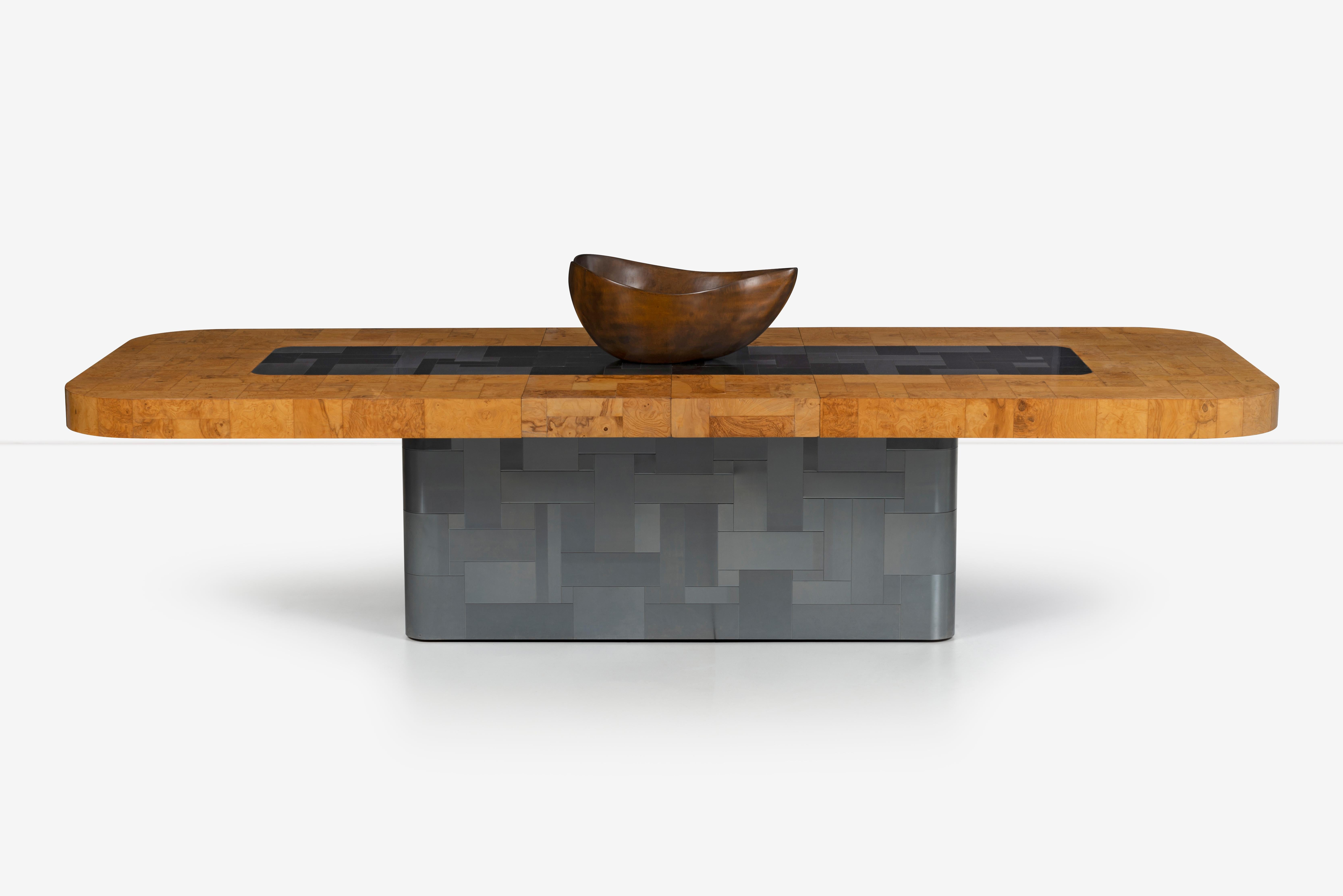 Paul Evans Olive Ash Burl Wood and Steel Cityscape Dining Table