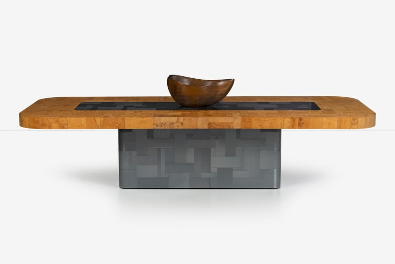 Paul Evans Olive Ash Burl Wood and Steel Cityscape Dining Table For Sale 1