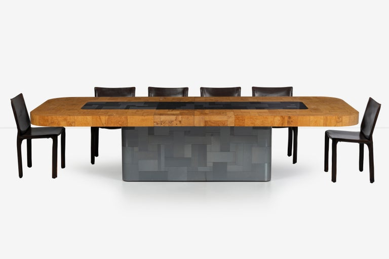 Paul Evans Olive Ash Burl Wood and Steel Cityscape Dining Table For Sale 2