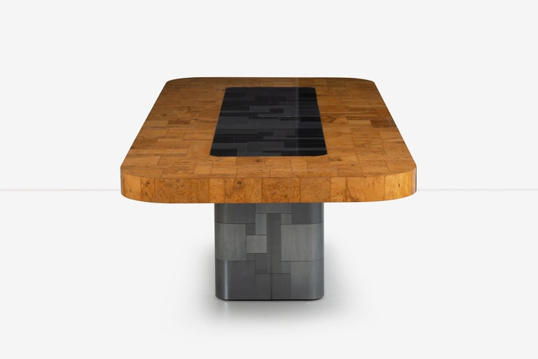 Paul Evans Olive Ash Burl Wood and Steel Cityscape Dining Table For Sale 3