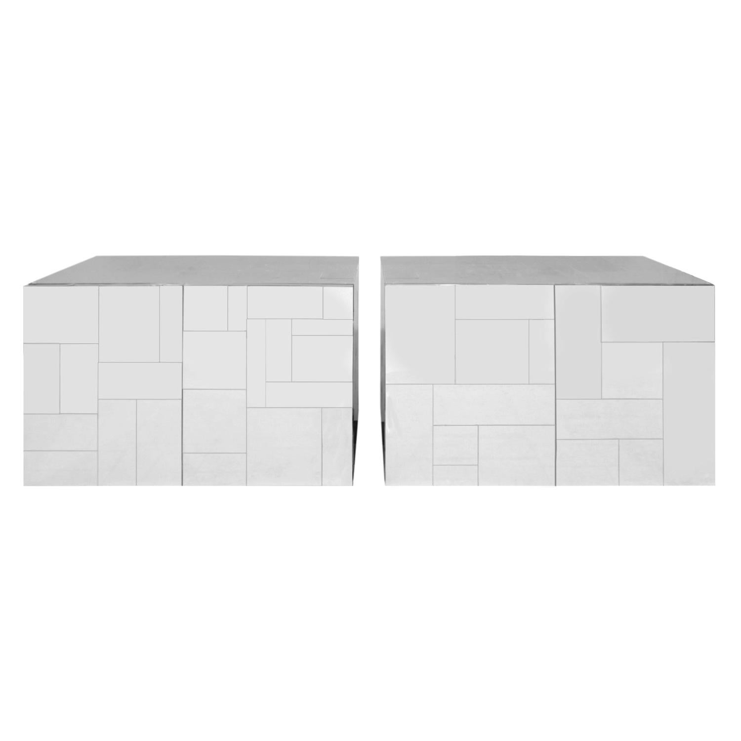 Paul Evans Pair of Bedside Cabinets in Tessellated Chrome, 1970s