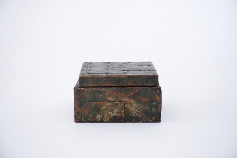 Paul Evans patchwork hinged box with incredible Patina. A great example of Paul Evans hand tooled patchwork series, this box was originally a humidor but you can use for whatever you wish. Beautiful Mid Century Modern / Brutalist 70s Piece!