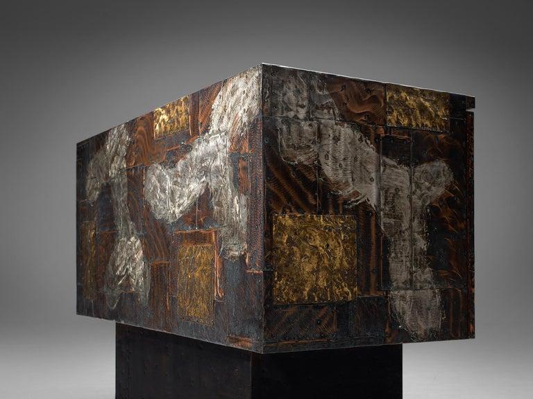 Brass Paul Evans Patchwork Cabinet PE-302 For Sale