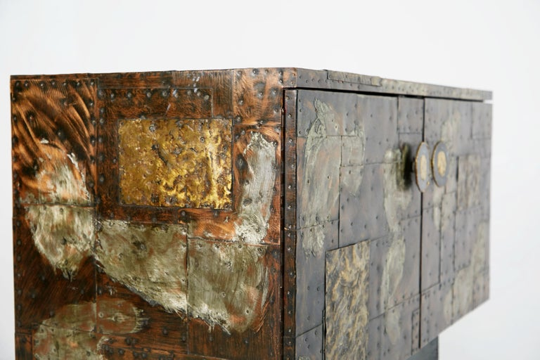 Paul Evans Patchwork Copper Cabinet with Slate Top for Directional, 1967 For Sale 5