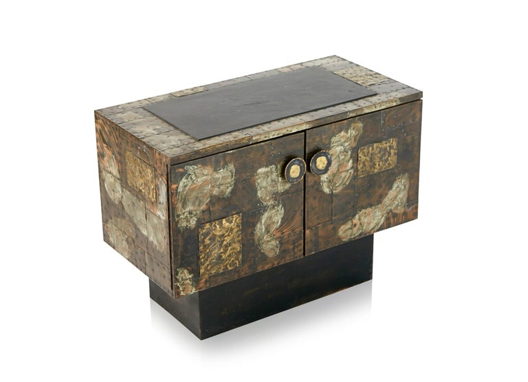Paul Evans Patchwork Copper Cabinet with Slate Top for Directional, 1967 For Sale 6