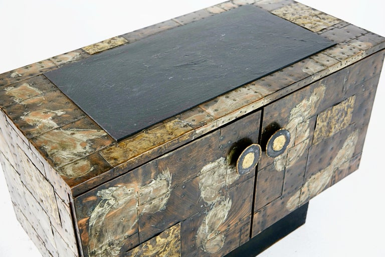 Paul Evans Patchwork Copper Cabinet with Slate Top for Directional, 1967 For Sale 7