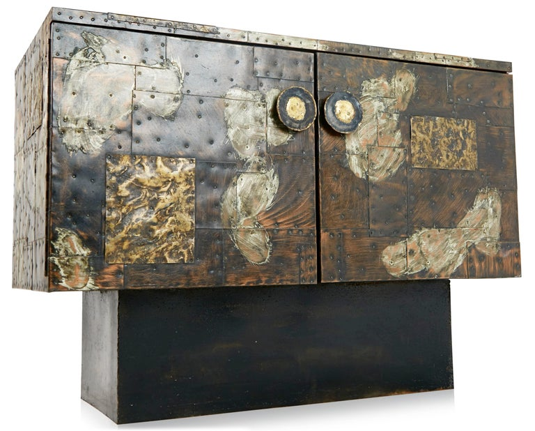 Paul Evans Patchwork Copper Cabinet with Slate Top for Directional, 1967 For Sale 8