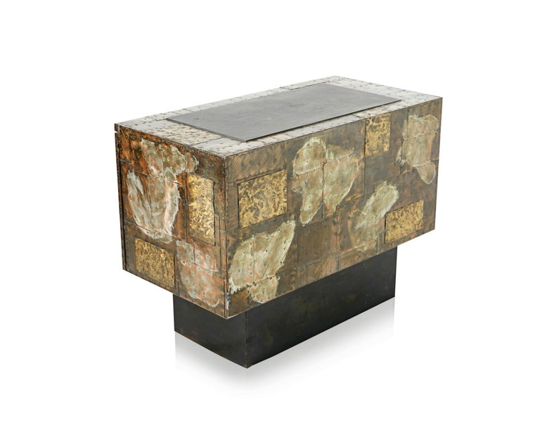 Paul Evans Patchwork Copper Cabinet with Slate Top for Directional, 1967 For Sale 9