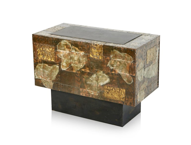 Paul Evans Patchwork Copper Cabinet with Slate Top for Directional, 1967 For Sale 10