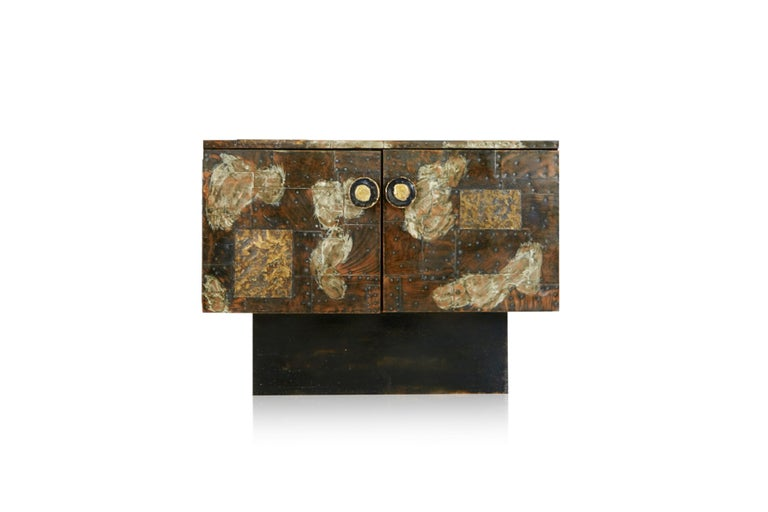 Brutalist Paul Evans Patchwork Copper Cabinet with Slate Top for Directional, 1967 For Sale