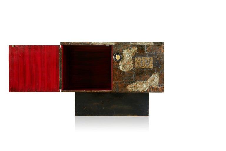 Patinated Paul Evans Patchwork Copper Cabinet with Slate Top for Directional, 1967 For Sale