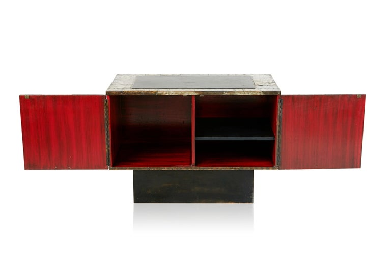 Mid-20th Century Paul Evans Patchwork Copper Cabinet with Slate Top for Directional, 1967 For Sale
