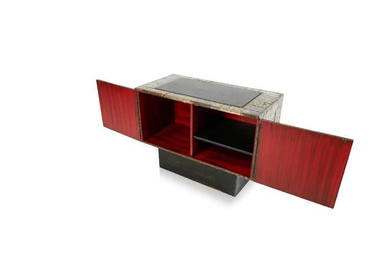 Paul Evans Patchwork Copper Cabinet with Slate Top for Directional, 1967 For Sale 1