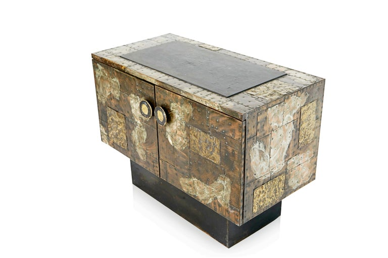 Paul Evans Patchwork Copper Cabinet with Slate Top for Directional, 1967 For Sale 2
