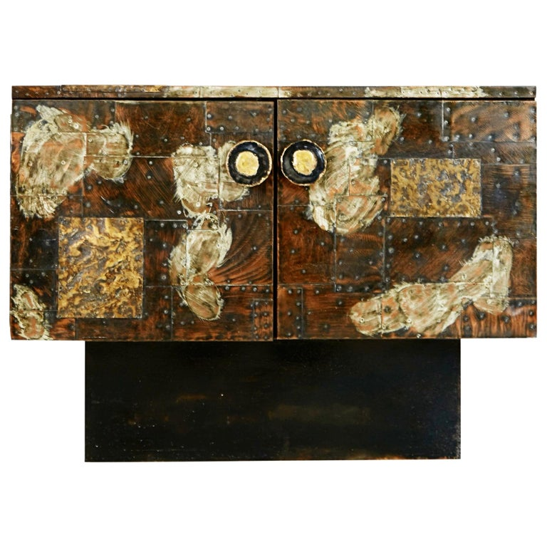 Paul Evans Patchwork Copper Cabinet with Slate Top for Directional, 1967 For Sale