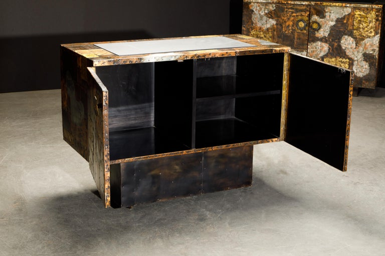 Paul Evans Patchwork Copper Cabinet with Slate Top for Directional, c. 1967 For Sale 2