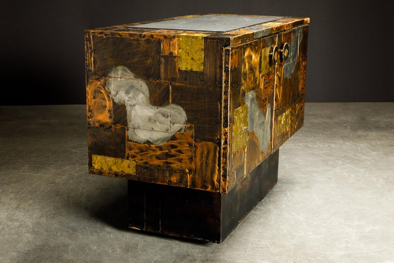 Paul Evans Patchwork Copper Cabinet with Slate Top for Directional, c. 1967 For Sale 3