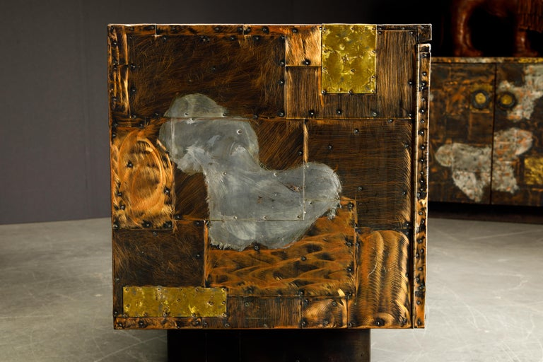 Paul Evans Patchwork Copper Cabinet with Slate Top for Directional, c. 1967 For Sale 4