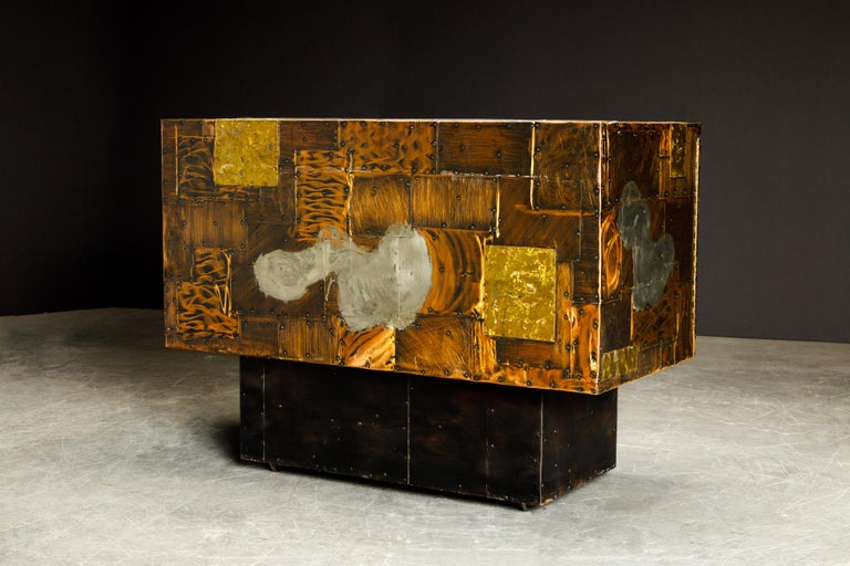 Paul Evans Patchwork Copper Cabinet with Slate Top for Directional, c. 1967 For Sale 5