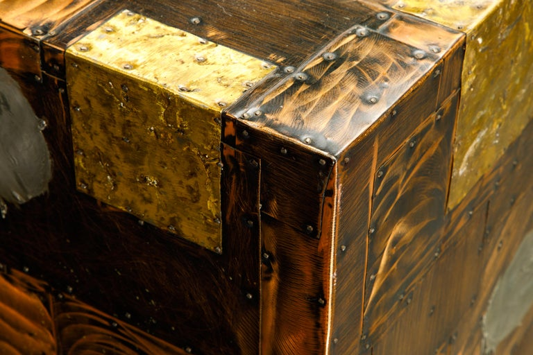 Paul Evans Patchwork Copper Cabinet with Slate Top for Directional, c. 1967 For Sale 6